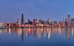 Illinois, multiple display, reflection, Chicago, USA, city