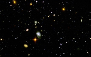 galaxy, space, multiple display, Hubble Deep Field