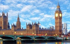Big Ben, city, Westminster, London, bridge, multiple display