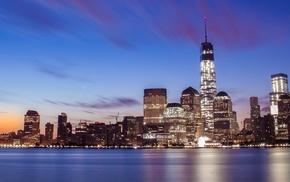 reflection, multiple display, lights, New York City, sunset, city