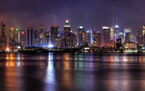 New York City, multiple display, lights, reflection, city, night