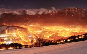 multiple display, lights, valley, landscape, mountain, Poland