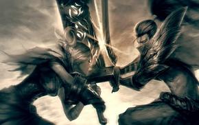 battle, Yasuo, men, fictional, artwork, video games