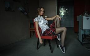 ponytail, black stockings, sitting, Georgiy Chernyadyev, Kseniya, sneakers