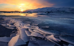 sunset, Iceland, mountain, glaciers, frozen lake, reflection