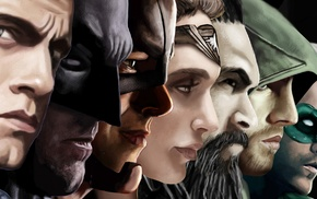 Green Lantern, Justice League, mask, Batman, Superman, artwork