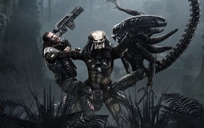 men, battle, aliens, Alien vs. Predator, science fiction, Aliens movie