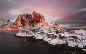 village, clouds, cold, snow, Norway, nature