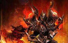 helmet, warrior, fire, fantasy art, weapon, armor