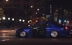 Ricer, street, tuning, car, Nissan Skyline GT, R R34