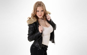 blonde, simple background, model, Viola Bailey, leather clothing, natural boobs