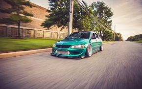 green, low, Mitsubishi Lancer Evolution VIII, motion blur, Mitsubishi Lancer, Mitsubishi