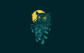 yellow eyes, minimalism, digital art, moon, simple background, owl