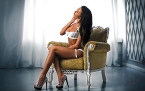 brunette, chair, bra, lingerie, sitting, long hair