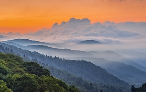 orange, clouds, mountain, landscape, sunrise, green