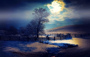 mist, fence, snow, trees, landscape, clouds