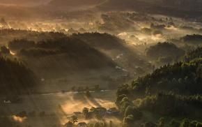 mountain, sunrise, mist, village, forest, sun rays