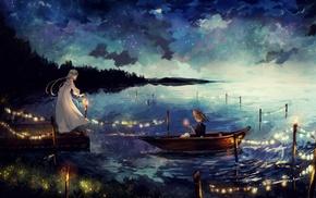 candles, dress, boat, stars, lights