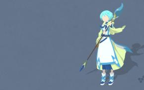 anime girls, weapon, simple background, blue background, vectors, Lelei La Lelena