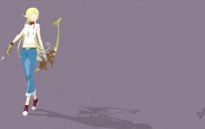 Gate Jieitai Kanochi nite Kaku Tatakaeri, purple background, anime, Tuka Luna Marceau, weapon, elves
