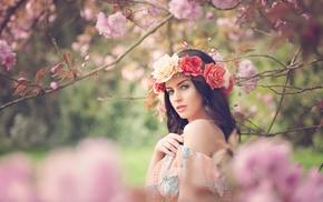 brunette, girl outdoors, flower in hair, girl, Aurela Skandaj, flowers