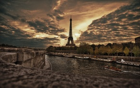 overcast, sunset, Eiffel Tower, Paris, boat, France