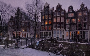 Netherlands, building, bridge, snow, Amsterdam, bicycle