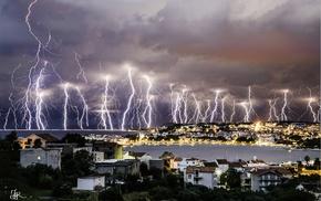 clouds, overcast, city, lightning, storm, cityscape
