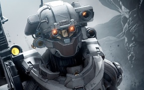 armor, face, red eyes, Halo 5, video games, helmet