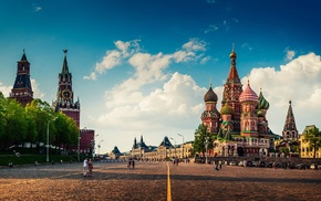capital, Russia, people, town square, Moscow, clock towers