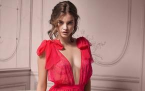 lingerie, brunette, red lingerie, Barbara Palvin, girl, model