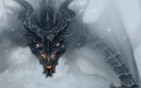 mist, dragon, Dragon Wings, wings, face, fantasy art