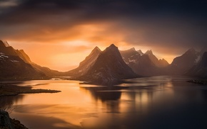 mountain, Norway, fjord, landscape, sunset, nature