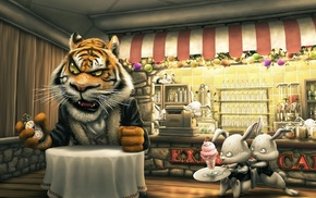animals, ice cream, tiger, cartoon, cafes, rabbits