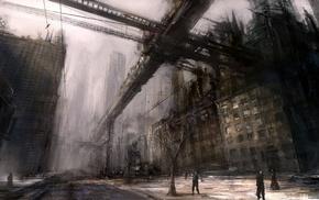 urban, people, digital art, city, futuristic, dystopian