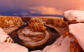 clouds, canyon, nature, snow, winter, USA