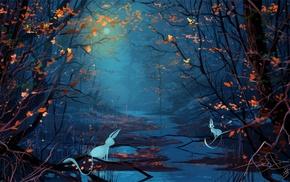 mist, animals, nature, branch, rabbits, night