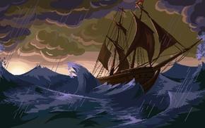pixel art, pixels, ship, storm, sea, rain