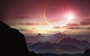 Sun, lights, artwork, solar eclipse, mountain, landscape