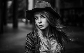 hat, girl, Irina Popova, monochrome, Maxim Guselnikov