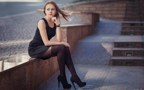 black dress, high heels, looking away, stiletto, black heels, sitting
