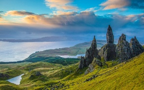 hill, landscape, rock formation, Skye, Old Man of Storr, nature
