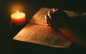praying, prayer, lights, Holy Bible, candles