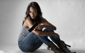 weapon, jeans, girl with guns, pistol, girl, ebony