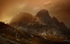 lake, clouds, summer, landscape, nature, Dolomites mountains