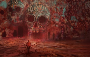 cave, skull, artwork, surreal, fantasy art, red