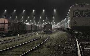 lights, technology, train, landscape, Denmark, urban