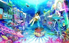 fish, giraffes, skirt, carousel, Fuji Choko, underwater