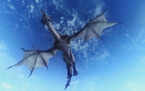 claws, scales, tail, dragon, clouds, flying