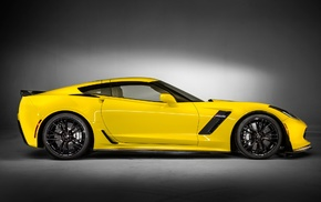 side view, Chevrolet Corvette Z06, car, yellow cars, 2015 Chevrolet Corvette Z06